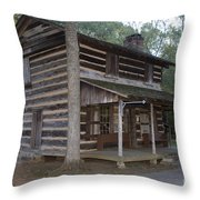Andrew Logan Log Cabin Ninety Six National Historic Site Throw Pillow