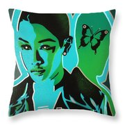 Android 1 In Greens Throw Pillow