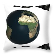 Android Hands Keep Earth Globe Safe On White Background Throw Pillow