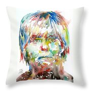 Andy Warhol Watercolor Portrait Throw Pillow