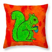 Andy's Squirrel Green Throw Pillow