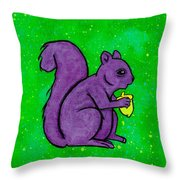 Andy's Squirrel Purple Throw Pillow