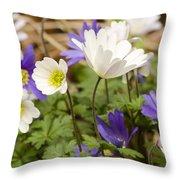 Anemone Blanda Throw Pillow