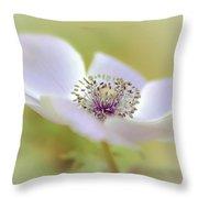 Anemone In White Throw Pillow