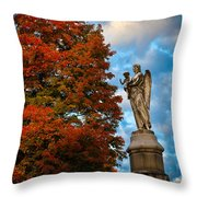 Angel And Boy In Foliage Scenery Throw Pillow