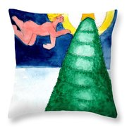 Angel And Christmas Tree Throw Pillow