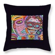 Angel And Frida Sugar Skull Lovers' Throw Pillow