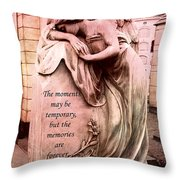 Angel Art - Memorial Angel Weeping Sorrow At Grave With Inspirational Message - Memories Are Forever Throw Pillow
