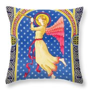 Angel Blowing Trumper Throw Pillow