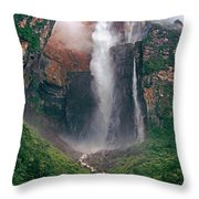 Angel Falls In Venezuela Throw Pillow