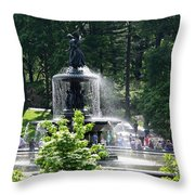 Angel Fountain Nyc Throw Pillow