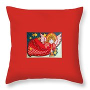 Angel In Red Throw Pillow