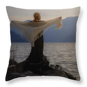 Angel In Sunset Throw Pillow