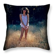 Angel In The Grasses Throw Pillow