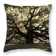 Angel Oak Tree Sepia Throw Pillow