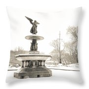 Angel Of The Waters - Central Park - Winter Throw Pillow