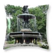 Angel Of The Waters Fountain Throw Pillow