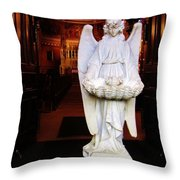 Angel Statue Offers Holy Water Throw Pillow