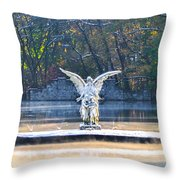 Angel On A Misty Lake  Throw Pillow