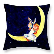 Angel On The Moon Throw Pillow