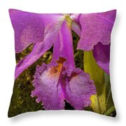 Angel Orchid Gold Leaf Throw Pillow