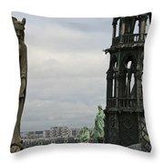 Angel Over Paris Throw Pillow