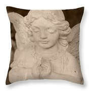 Angel Sepia Throw Pillow