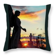 Angel Silhouette In Burst Of Colors Throw Pillow