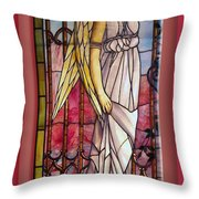 Angel Stained Glass Window Throw Pillow by Thomas Woolworth