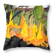 Angel Trumpets Throw Pillow