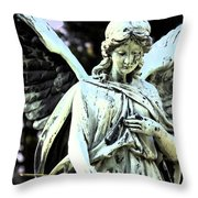 Angel With A Red Rose Throw Pillow