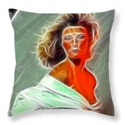 Angela Leather Red Fractal Throw Pillow
