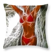 Angela Red Bikini Fractal Throw Pillow