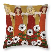 Angels And Dasies Throw Pillow