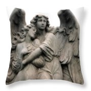 Angels Embracing - Angels Dreamy Romantic Angel Art - Guardian Angel Art  Throw Pillow