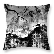 Angels In Gothica Bw Throw Pillow