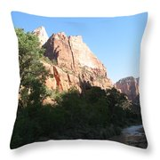 Angels Landing And Virgin River - Zion Np Throw Pillow