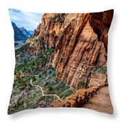 Angels Landing Trail From High Above Zion Canyon Floor Throw Pillow