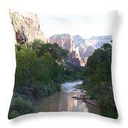 Angels Landing - Virgin River - Zion Np Throw Pillow