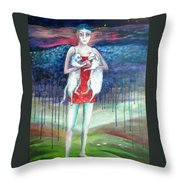 Angels Of Zodiac. Aries The Ram Throw Pillow