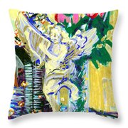 Angels With Roses Throw Pillow