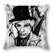 Angelsoncloudsplayingharpo Throw Pillow