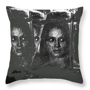 Angie Dickinson At Window Rain Collage Young Billy Young Set  Old Tucson Arizona 1968-2013 Throw Pillow