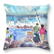 Angling In Gran Canaria Throw Pillow