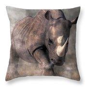 Angry Rhino Throw Pillow