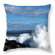 Angry Shores Throw Pillow