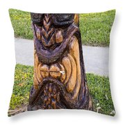 Angry Tiki From A Palm Tree Stump Throw Pillow