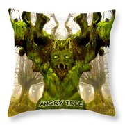 Angry Tree Forest Defender Throw Pillow