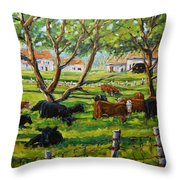 Angus Cows Under The Cool Shade By Prankearts Throw Pillow