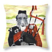Angus The Piper Throw Pillow